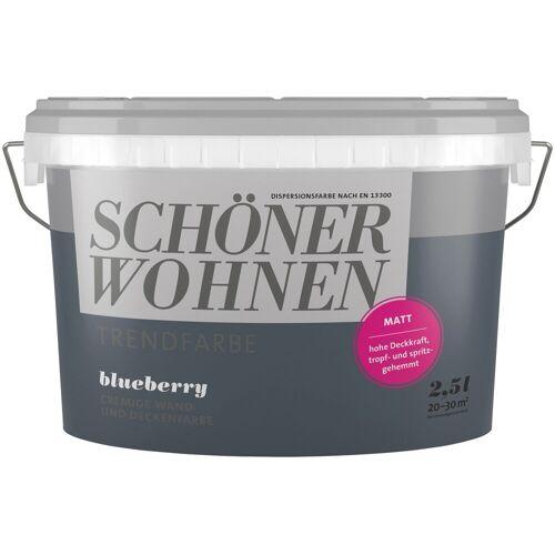 SCHÖNER WOHNEN-Kollektion SCHÖNER WOHNEN FARBE Wand- und Deckenfarbe »Trendfarbe Blueberry, matt«, 2,5 l, Blueberry
