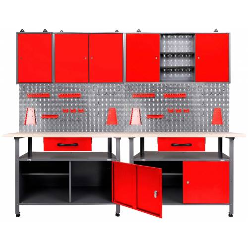 ONDIS24 Werkstatt-Set 2x Werkbank, 2x Werkstattschrank, 2x Lochwand, anthrazit/rot