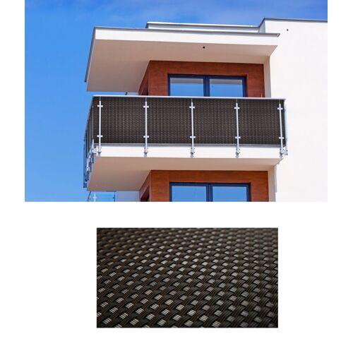 dynamic24 Balkonsichtschutz Polyrattan PVC Sichtschutzmatte 300x90 Balkon Sichtschutz Zaun Windschutz, Braun