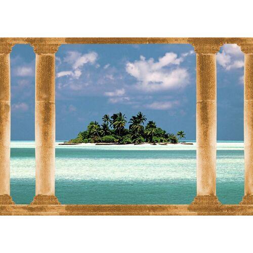 Papermoon Fototapete »Palmeninsel Malediven«, Vlies, in verschiedenen Größen, bunt