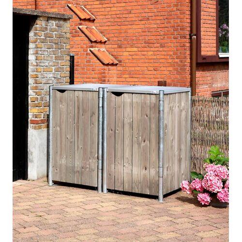 Hide Mülltonnenbox für 2 x 240 l, grau/natur, grau/natur