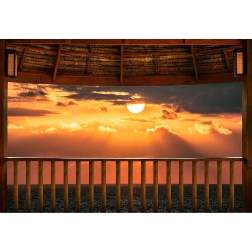 Idealdecor Fototapete »Meerblick Terrasse Sonnenuntergang«, Vlies, 4 Bahnen, 368 x 254 cm, bunt