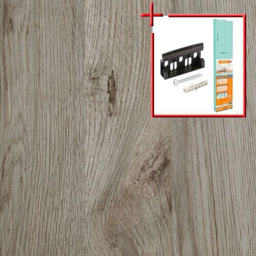 Bodenmeister Laminat »Schiffsboden Eiche hell-grau«, Set, bestehend aus 14,34qm Laminatboden, Trittschalldämmung und Sockelleisten, Leiste weiß, Stärke: 7mm, ohne Fuge