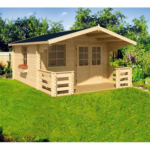 Nordic Holz Set: Gartenhaus »Klingenberg 2«, BxT: 404x520 cm, mit Terrasse, Fußboden, Blumenkasten, natur