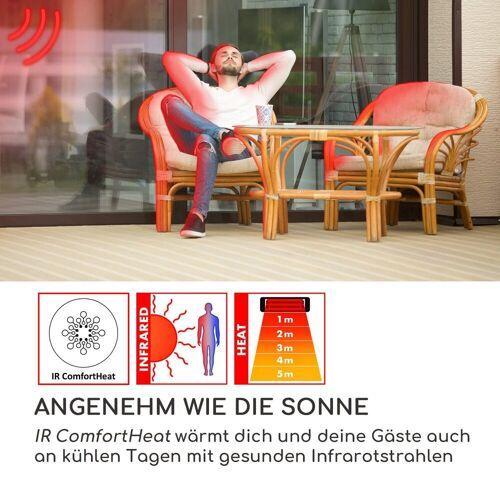 blumfeldt Terrassenstrahler Heat Guard Infrarot-Heizstrahler Terrasen-Heizpilz 2100W IP44 silber