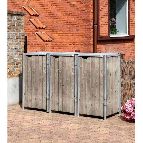 Hide Mülltonnenbox für 3 x 120 l, grau/natur, grau/natur