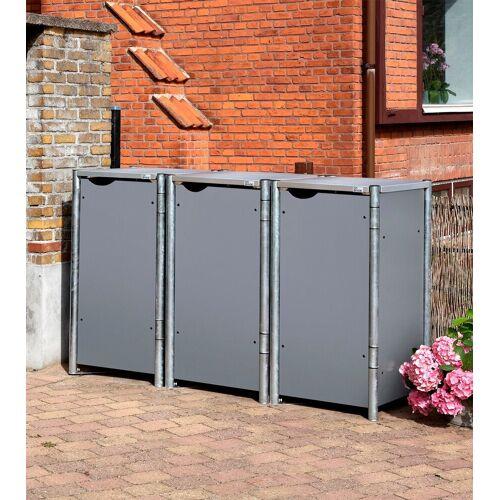 Hide Mülltonnenbox für 3 x 120 l, grau, grau