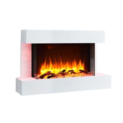 RICHEN Elektrokamin »Aidan«, Elektrokamin Aidan - Wandkamin mit Heizung, 3D-Flammeneffekt & Fernbedienung - Weiß, 632 x 1000 x 240