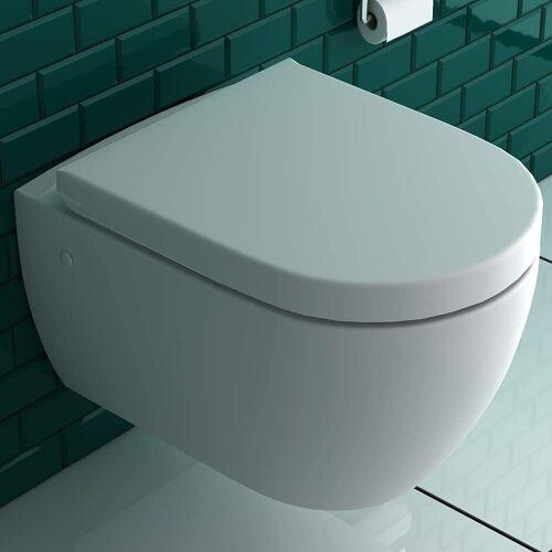 bad1a Wand-WC-Befestigung »Wandhängendes WC mit Hygienedusche + Abnehmbarer WC-Sitz D-Form inkl. Absenkautomatik, 2 in 1 BIDET & WC, Taharet WC ästetische & platzsparende Ausführung, passend zu GEBERIT«, (Komplett-Set, 1xWC mit Bidet Funktion, 1xWC-Sitz),