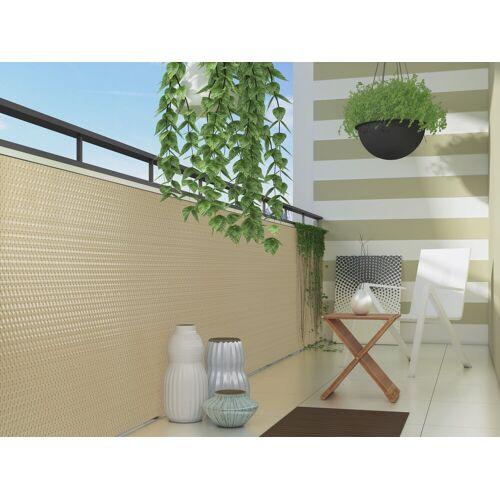 dynamic24 Balkonsichtschutz Polyrattan PVC Sichtschutzmatte 300x90 Balkon Sichtschutz Zaun Windschutz, Beige