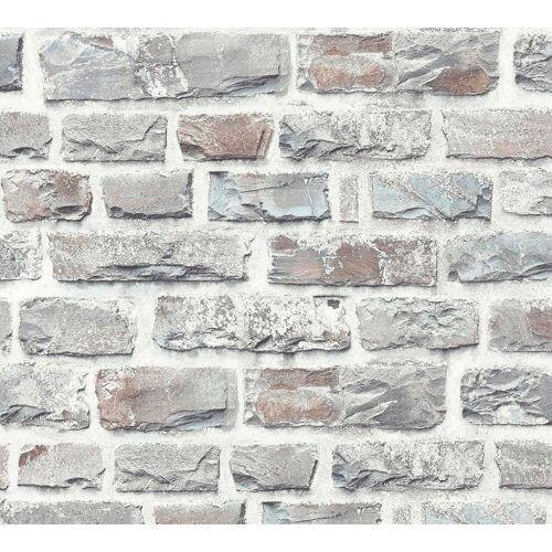 living walls Vliestapete »Neue Bude 2.0«, Steinoptik, Naturstein, steingrau-weiß