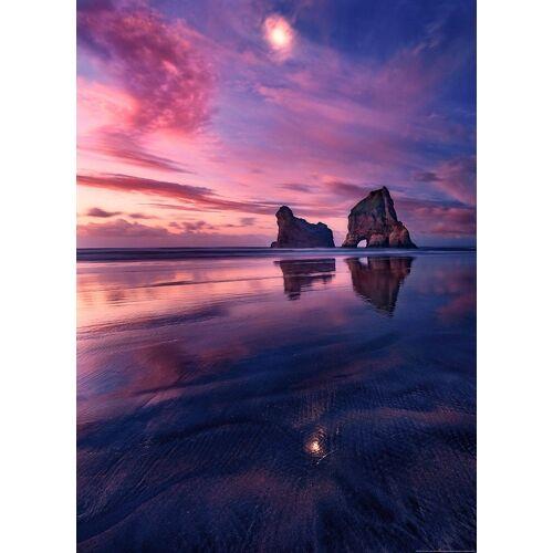Idealdecor Fototapete »Bucht Sonnenuntergang«, Vlies, 2 Bahnen, 183 x 254 cm, bunt