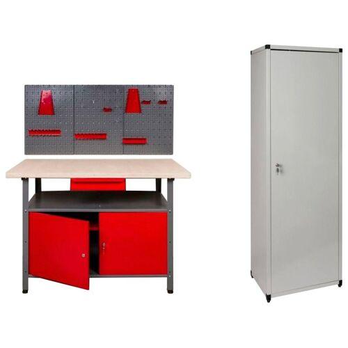 Kreher Werkstatt-Set 120 cm, 2x Tür, 1x Werkstattschrank, 1x Werkzeugwand, grau