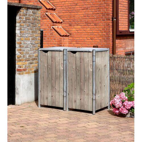 Hide Mülltonnenbox für 2 x 120 l, grau/natur, grau/natur