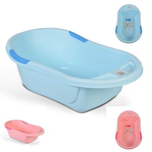 Moni Babywanne »Babybadewanne Lilly«, platzsparend mit Wasserablauf, Ablagefächer für Zubehör, blau alt