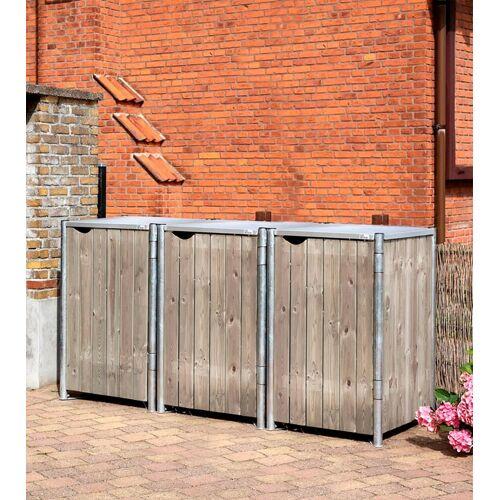 Hide Mülltonnenbox für 3 x 240 l, grau/natur, grau/natur
