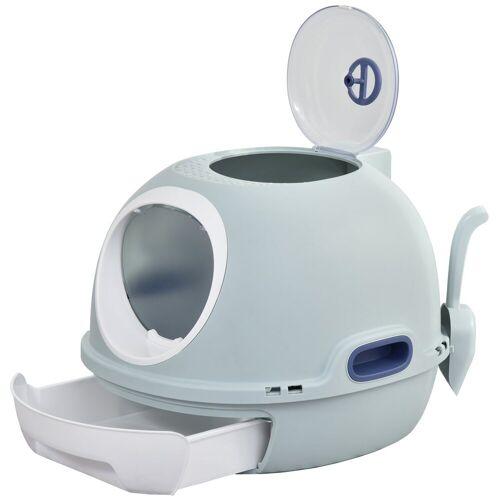 PawHut Katzentoilette »Katzentoilette mit Katzenklappe«, blau