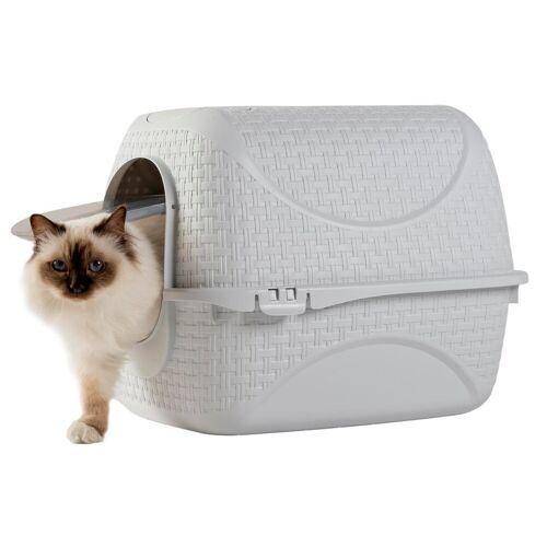 PETGARD Katzentoilette »Katzentoilette Katzenklo Rattan«, weiss mit Rattan Optik, Filter und Streuschaufel, weiss