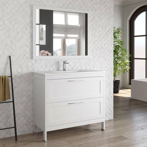 Lomadox Waschtisch-Set »TARIFA-110«, (Spar-Set, 2-tlg), Badmöbel Landhaus Waschtisch mit Keramikbecken & Landhaus-Spiegel matt weiß, B/H/T ca. 101/200/45cm, weiß