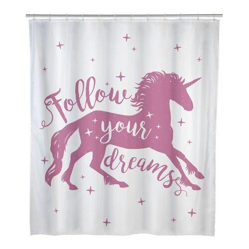 WENKO Duschvorhang breite 180 cm, Badewannenvorhang 180x200 cm Einhorn Bad Dusche Vorhang rosa weiß
