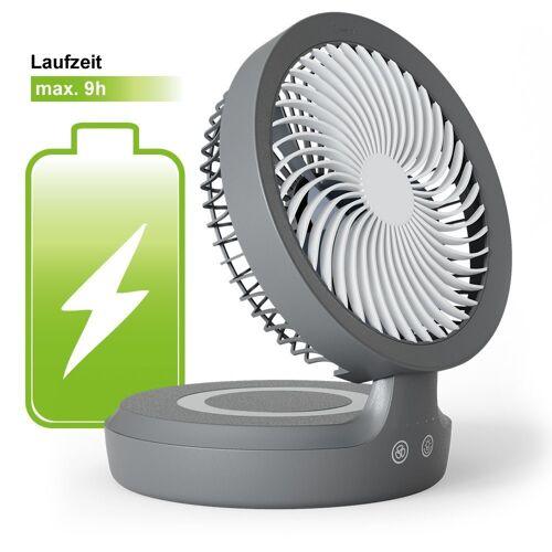 Eldstad Tischventilator Mini USB Ventilator LED Licht Akku Schreibtisch 4 Stufen