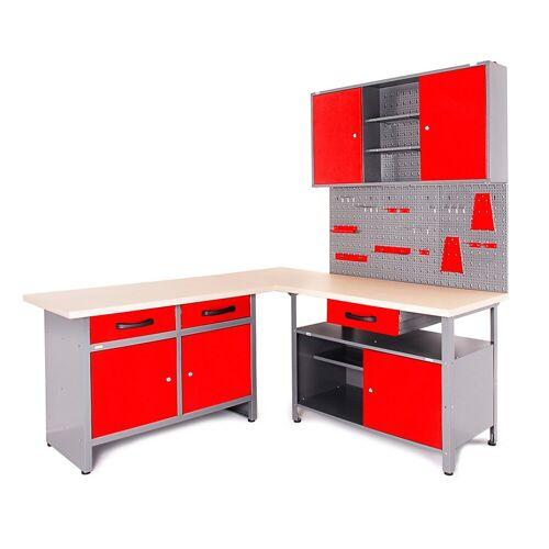 ONDIS24 Werkstatt-Set »Basic One«, 2x Werkbank, 1x Werkstattschrank, 3x Lochwand, rot/grau/schwarz