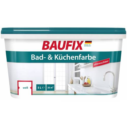 Baufix Wand- und Deckenfarbe »Bad und Küchenfarbe«, 5 Liter, weiß