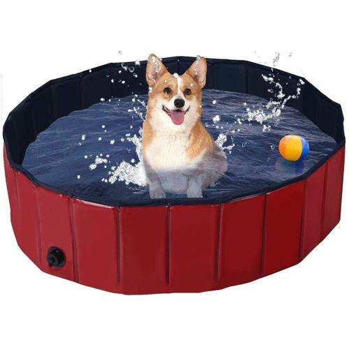 COSTWAY Badewanne »Haustierpool Swimmingpool Hundebadewanne Pet Bath Pool«, Rot