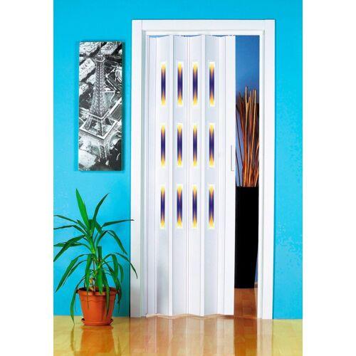 Falttür »Dekor 1 Halbrund«, BxH: 88,5x202 cm, mit dekorativem Motiv im Fenster, weiß