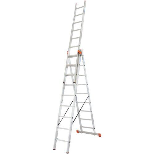 KRAUSE Vielzweckleiter »Tribilo«, mit Leiternspitzen, 3x9 Sprossen, silberfarben