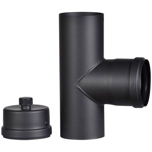Firefix Anschlussstück für 80 mm Pelletofenrohr, schwarz