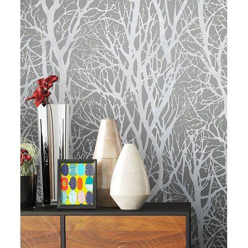 Newroom Vliestapete, Blumentapete Grau Wallpaper Floral Blumen Tapete Pflanzen Äste Wohnzimmer Schlafzimmer Büro Flur