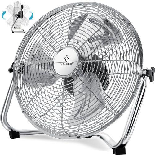 KESSER Standventilator, Windmaschine Retro Stil Ventilator in Chrom Standventilator Tischventilator Bodenventilator 3-Stufen robuster Stand stufenlos neigbar, silber - Ø 60cm