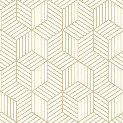 "RoomMates Vliestapete »Tapete ""Hexagon"", L500 x B50 cm, selbstklebend«, weiß/gold"