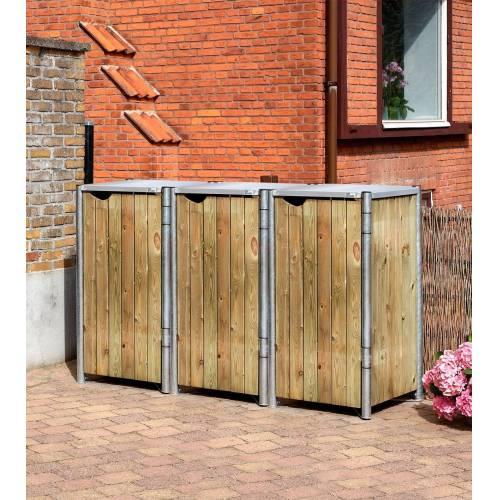 Hide Mülltonnenbox für 3 x 120 l, natur, natur