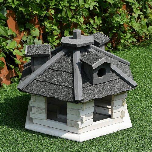 Mucola Vogelhaus »Vogelhäuschen Vogelhäuser Futterhaus Futtersilo Vogelfutterhaus«, Inkl. aufklappbaren Futterspender, Weiß / Grau