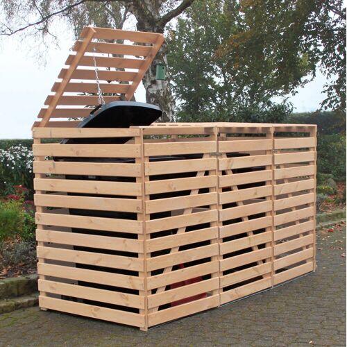 promadino Mülltonnenbox »Vario V«, für 3 x 240 l, holzfarben, holzfarben