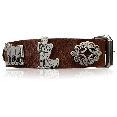 FRONHOFER Hunde-Halsband »18614«, Ökoleder, Trachten Hundehalsband 3 cm Naturleder Appenzeller Zierteile, Braun