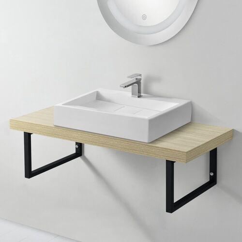 neu.haus Waschtisch, Waschtischplatte 100x45x30cm Waschtischkonsole mit Handtuchhalter natur, natur
