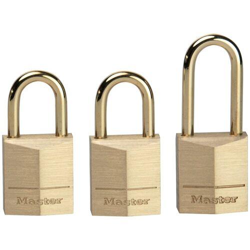Master Lock Vorhängeschloss 15 mm aus Messing, 3er Pack gleichschließend, goldfarben