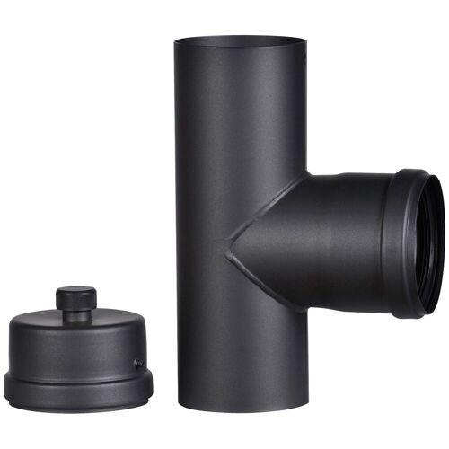 Firefix Anschlussstück für 100 mm Pelletofenrohr, schwarz