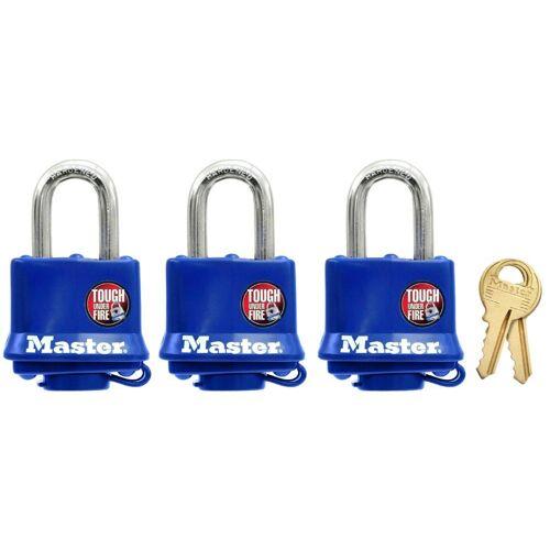 Master Lock Vorhängeschloss 40 mm mit Thermoplast, 3er Pack gleichschließend, blau
