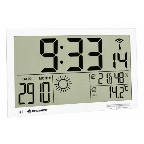 BRESSER Wetterstation »MyTime Jumbo LCD Wetter-Wanduhr«, weiss