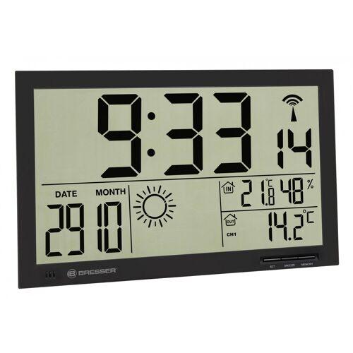 BRESSER Wetterstation »MyTime Jumbo LCD Wetter-Wanduhr«, schwarz