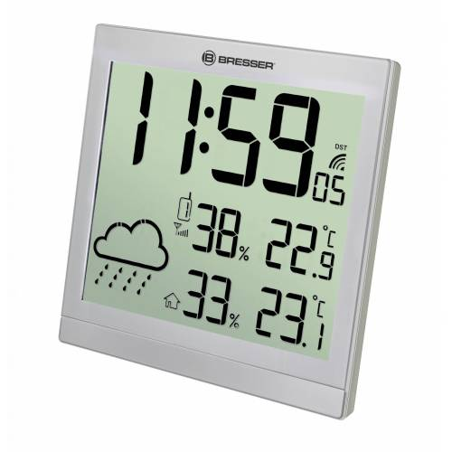 BRESSER Wetterstation »LCD Wetter-Wanduhr TemeoTrend JC«, silver