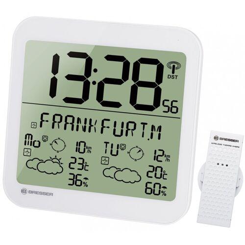 BRESSER Wetterstation »MyTime Meteotime LCD Wetter-Wanduhr«, weiss