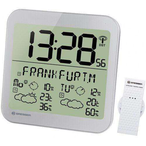 BRESSER Wetterstation »MyTime Meteotime LCD Wetter-Wanduhr«, silver