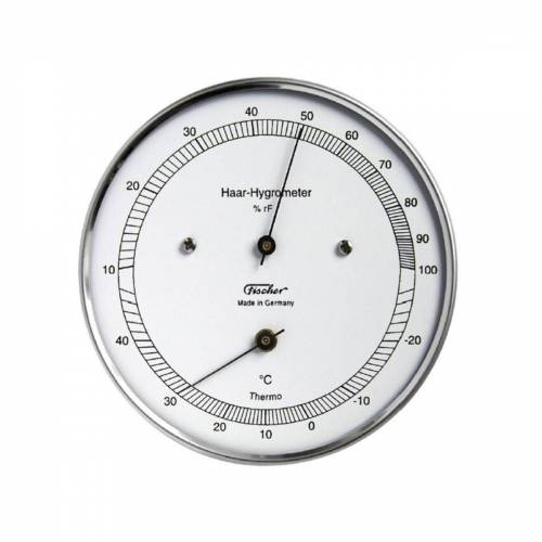 Fischer Echthaar Hygrometer mit Thermometer, Außen, Silber