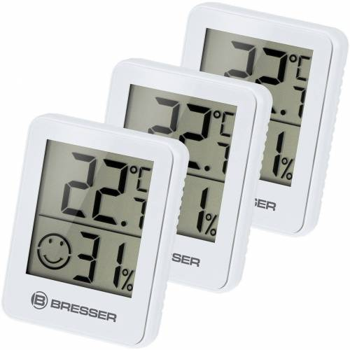 BRESSER Thermometer »Temeo Hygro 3er Set Thermometer Hygrometer«, weiss