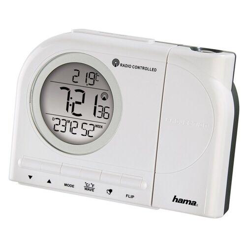 Hama Projektionswecker Funkwecker Wecker, Uhrzeit, Temperatur, »Kalender, 2Weckzeiten, digital«, Weiß